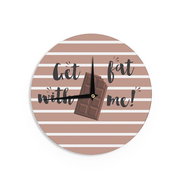 """KESS Original """"Get Fat"""" Brown Chocolate Wall Clock"""
