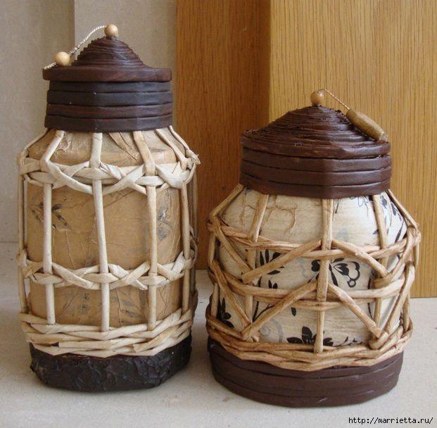 Плетение из газет. Винтажный фонарь из банки http://marrietta.ru/post277106357/