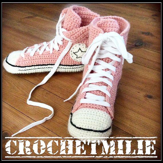 gehaakte Converse slippers van Crochetmilie op Etsy