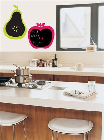 For Walls Chalk Decal - Apple & Pear    Price: $39.95    Funky chalk apple and pear wall decals by For Walls!    Create your weekly shopping list, play hangman or just doodle while on the phone, a chalkboard wall sticker can add a little of your personality to a room. And because they're so easy to remove, when you decide to redecorate and add a new theme to your home, you can peel it off and add something new!