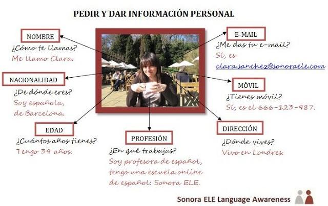 Pedir y dar información personal
