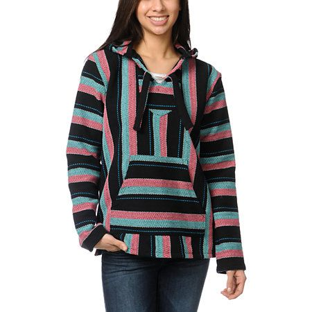 Get that trendy beach bum style effortlessly when you throw on the Senor Lopez girls black, coral and mint poncho. This pullover hoodie is not only eco-friendly with its recycled tee construction, but it is also incredibly warm and breathable. With a hood, front pouch pocket and colorful mint blue, coral and black stripes all over, it's safe to say the poncho hoodie from Senor Lopez is all about keeping your looks quality and functional. Complete the outfit with a pair of jean short shorts…