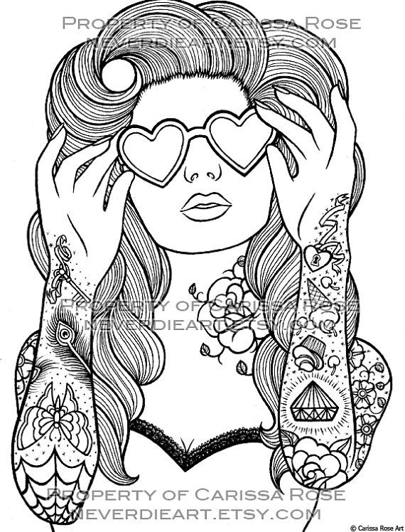 digital download print your own coloring book outline page sweet heart by carissa rose