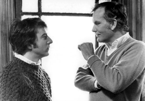 Dustin Hoffman and Sam Peckinpah on the set of Straw Dogs.