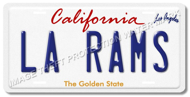 LA Los Angeles California RAMS NFL Football Team Aluminum Vanity License Plate 3