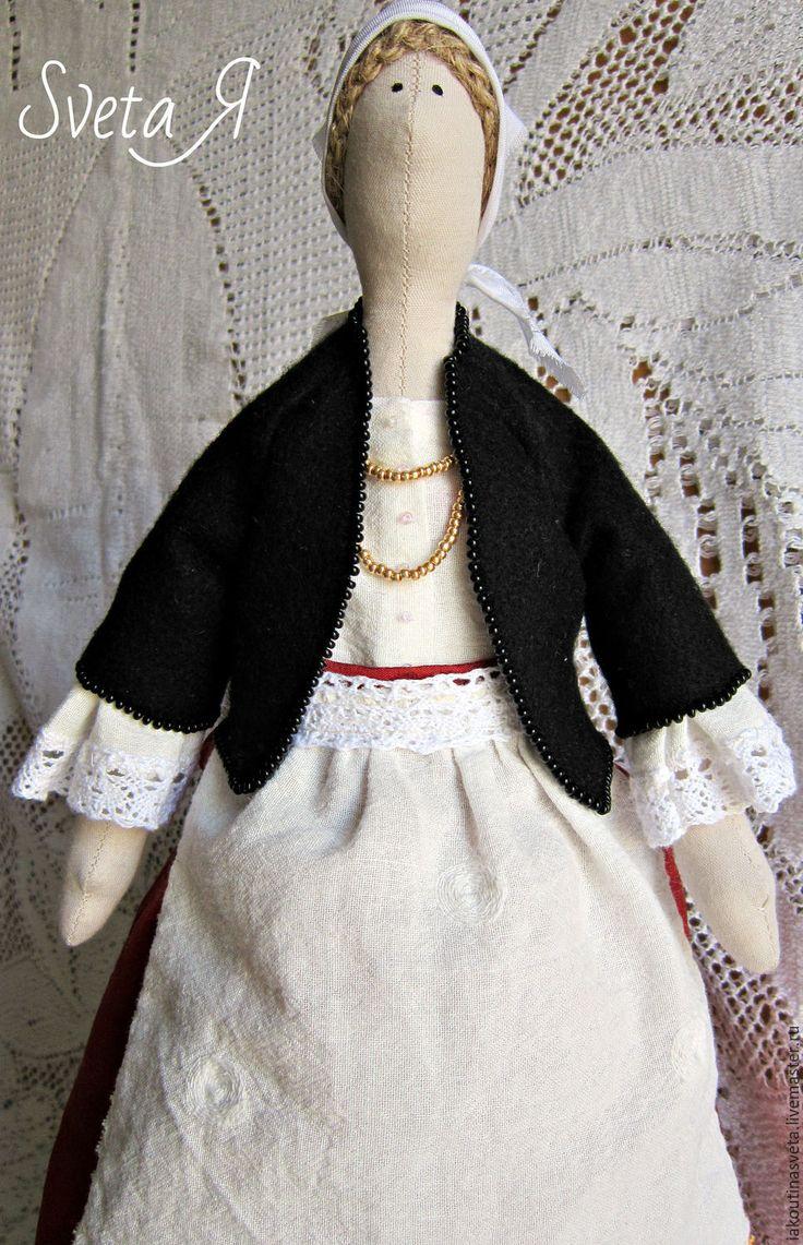 Купить Кукла тильда Критская девочка - комбинированный, терракотовый цвет, белый жемчуг, черный цвет