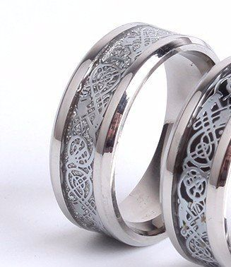 Vintage Silver Chinese Dragon Men's Promise Rings