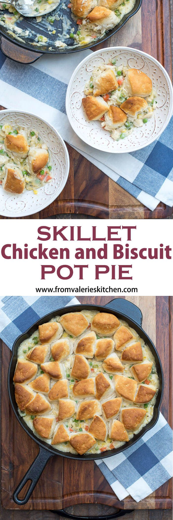 A creamy, chicken and vegetable studded filling is topped with biscuit pieces and baked until bubbly and golden brown This family-friendly Skillet Chicken and Biscuit Pot Pie is an easy, comforting weeknight dinner choice.