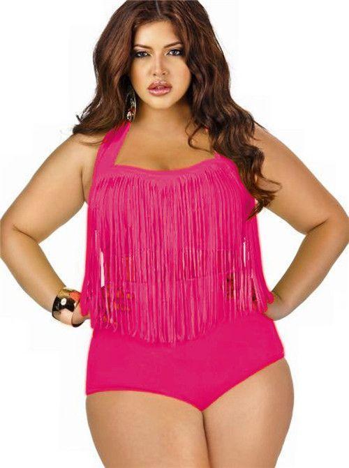 4aaa5fafd5b PLUS SIZE Women Retro Tassel Top High Waisted Bikini Swimwear Swimsuit  L1X/2X/3XL