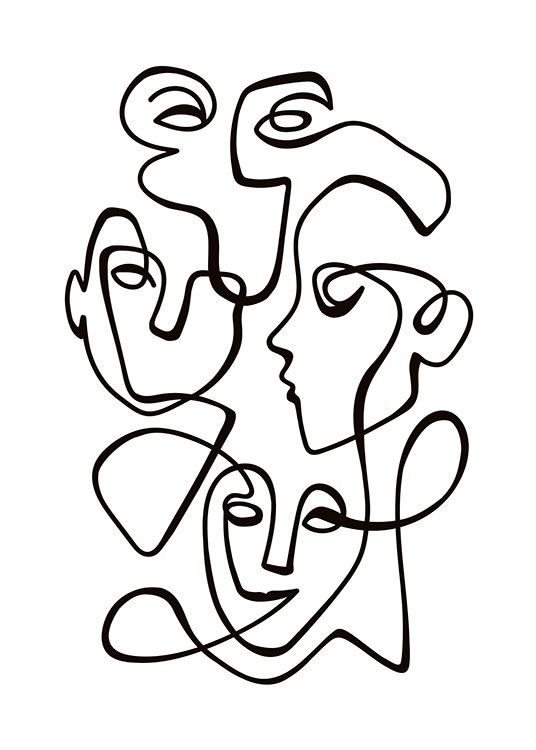 Abstract Line People No2 Poster in the group Posters & Prints / Illustrations at… – Ava Ilinka