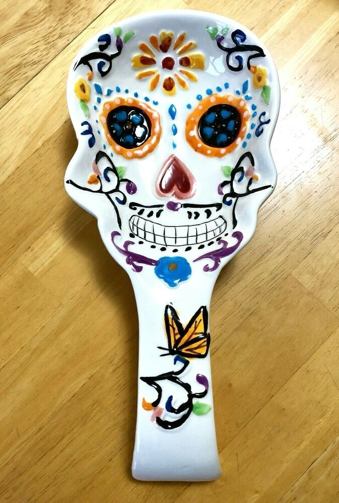 Day of the Dead Fused Glass Spoon Rest