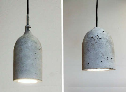DIY pendant lights made from a concrete mold