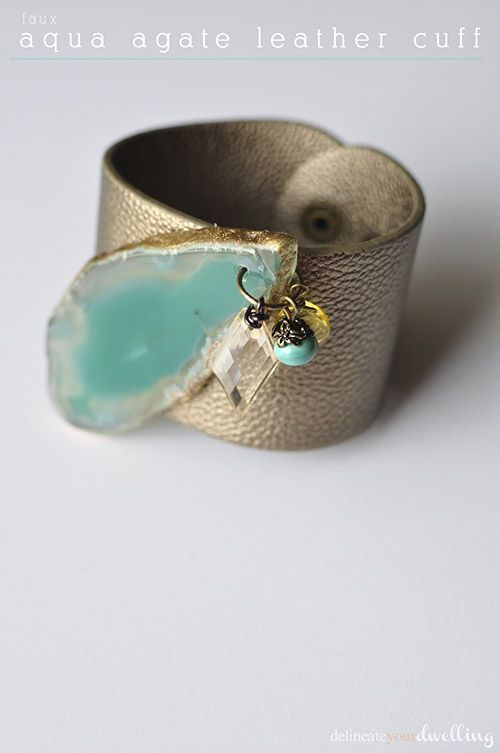 Create this stunning Faux Aqua Agate Leather Cuff Bracelet! Delineateyourdwelling.com