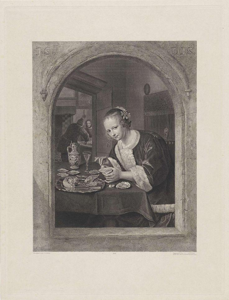Dirk Jurriaan Sluyter | Het oesteretertje, Dirk Jurriaan Sluyter, 1841 | Een jonge vrouw, gekleed in kort jakje met bontrand, zit aan een tafel waarop een schaal oesters, een glas wijn en een kruik staan. Zij heeft een oester in de linkerhand. Achter haar een bed met gesloten gordijnen. Links op de achtergrond een tweede vertrek waarin een vrouw toekijkt hoe een man oesters opent. De gehele voorstelling is door een boogvormig venster gezien. In de muur zijn boven het raam de initialen van de…