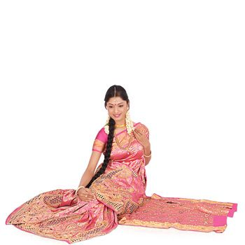 Pink Pure Brocade Silk Saree with Blouse