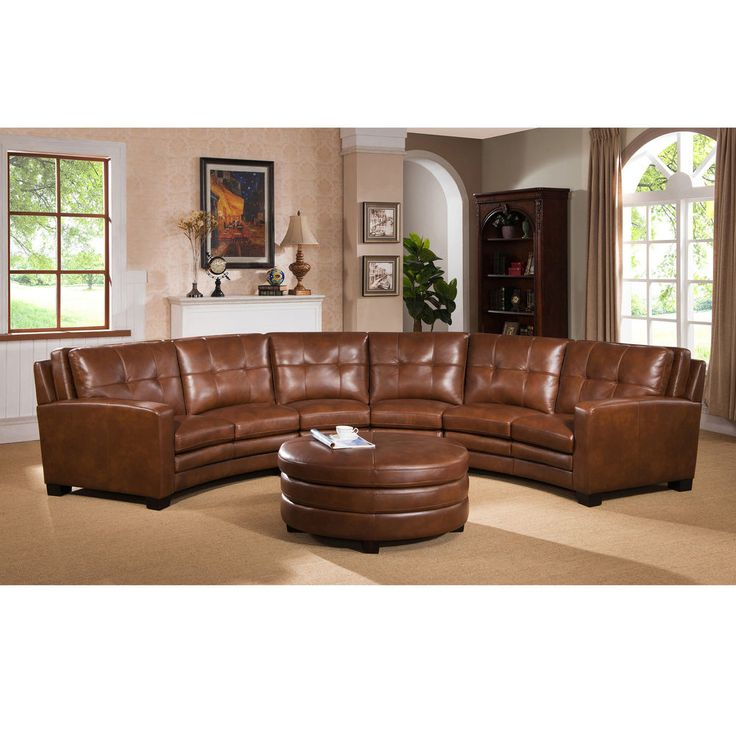Meadows Brown Curved Top Grain Leather Sectional Sofa and Ottoman in Home & Garden, Furniture, Sofas, Loveseats & Chaises | eBay