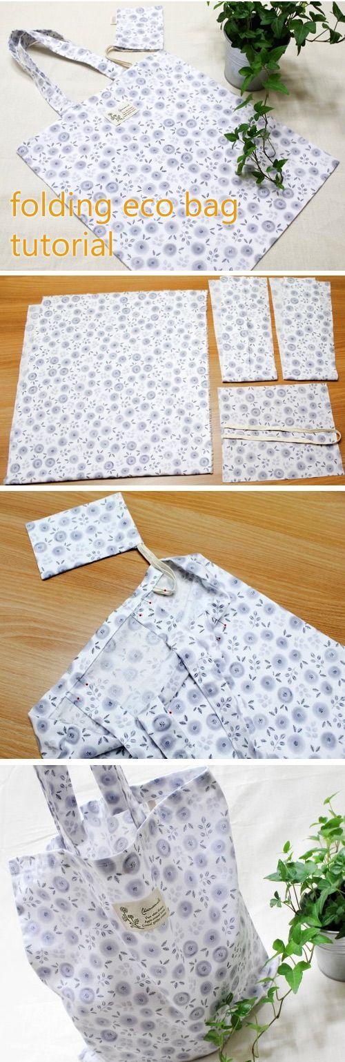 Reusable Grocery Bag. DIY tutorial for reusable shopping bags http://www.handmadiya.com/2016/05/fold-up-eco-bag.html