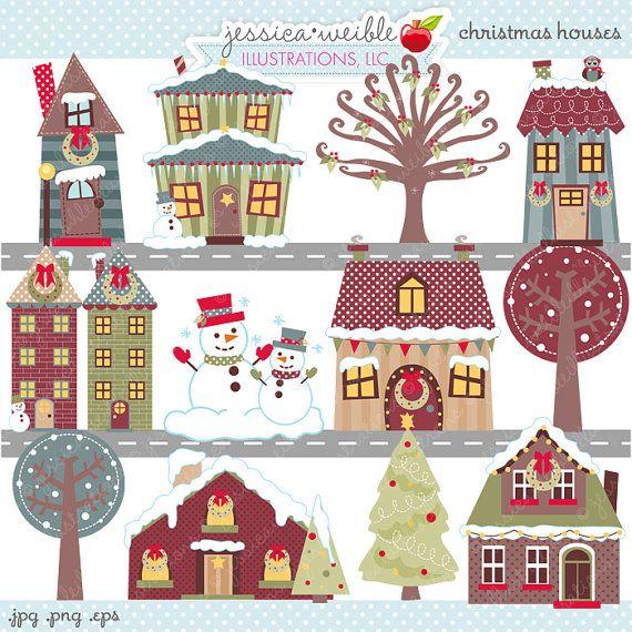 He encontrado este interesante anuncio de Etsy en https://www.etsy.com/es/listing/167234746/christmas-houses-cute-digital-clipart