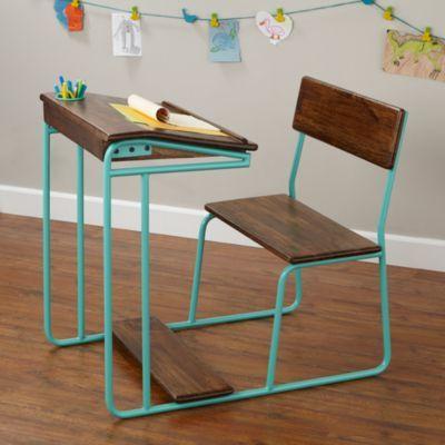 Modern Schoolhouse Desk (Aqua) | The Land of Nod Perhaps a nostalgic school chair can unleash our child like creativity