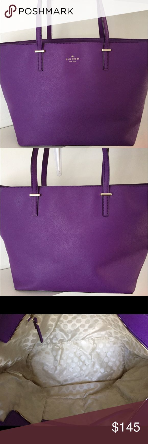 "Kate Spade Cedar Street Harmony Purple Tote Bag Kate Spade Cedar Street Harmony saffiano leather purple tote bag! This bag measures 11"" in height, 19"" in length, and it has a 9.5"" strap drop. The interior has a zip pocket and two other multifunctional pockets. Gorgeous bag in great condition! kate spade Bags Totes"