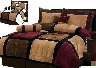 Suede Patchwork Comforter Set/Bed-In-A-Bag