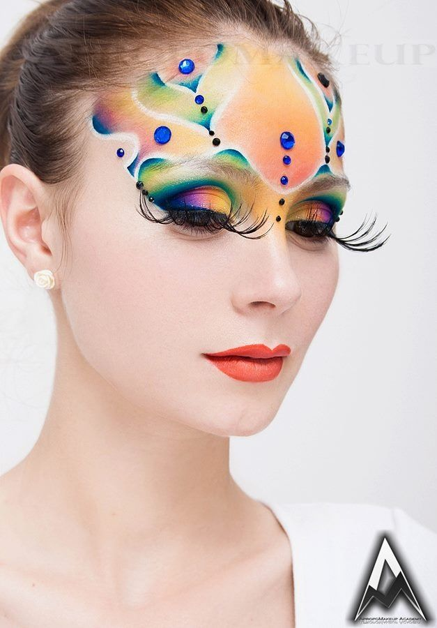 artistic make up done in watercolours technique by me( joined me on Facebook page-Maria Radu makeup artist).