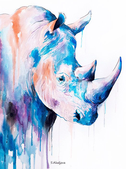 Rhinoceros watercolor painting print safari art by SlaviART