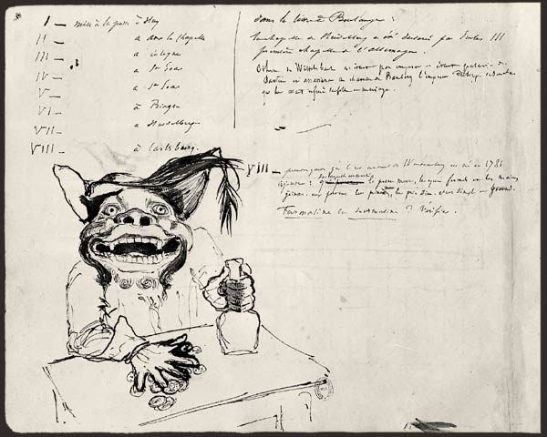 """¤ Victor Hugo - Album de voyage au bord du Rhin, 1840. papier à dessin. 17 dessins. BNF, Manuscrits, NAF 13348, fol. 1v°. On trouve dans cet album un portrait auquel a été donné le nom de Goulatromba, un personnage de Ruy Blas. Ce portrait rappelle les gueules de l'enfer des manuscrits médiévaux. La visite nocturne d'un burg ne s'apparente-t-elle pas en effet à une descente aux enfers, propice à des visions où """"tous les monstres de l'ombre se réveillent et commencent à fourmiller"""" ?."""
