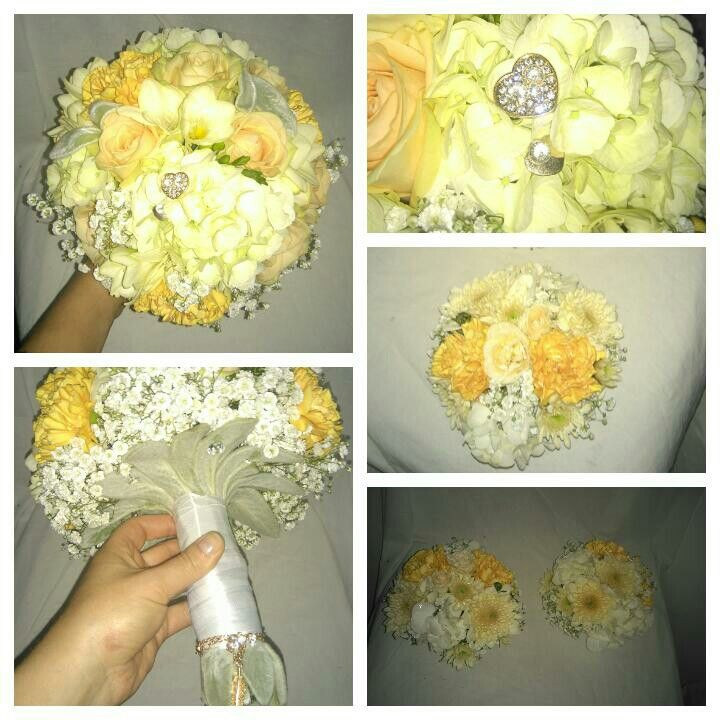 Svatební kytice z hydrangea, frézie,dianthus, růže. Vyrobeno v květinovém studiu Trendy florist s.r.o.