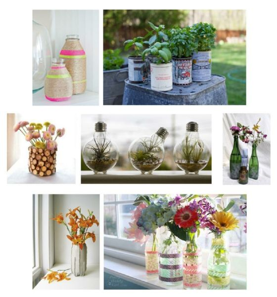 Aludosen-Plastikflaschen-Blumen-Garten