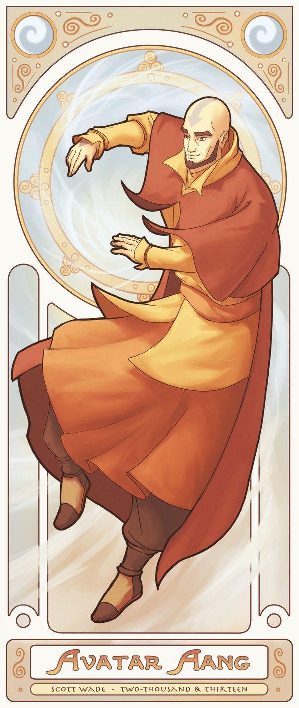 Avatar Aang - Art Nouveau Avatars by swadeart.deviantart.com on @deviantART