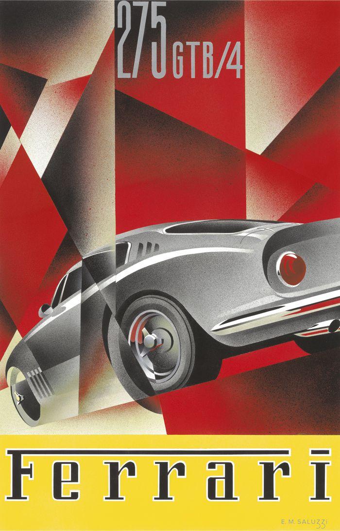 PEL204: '1967 Ferrari 275 GTB/4' by Emilio Saluzzi - Vintage car posters - Art Deco - Pullman Editions - Ferrari