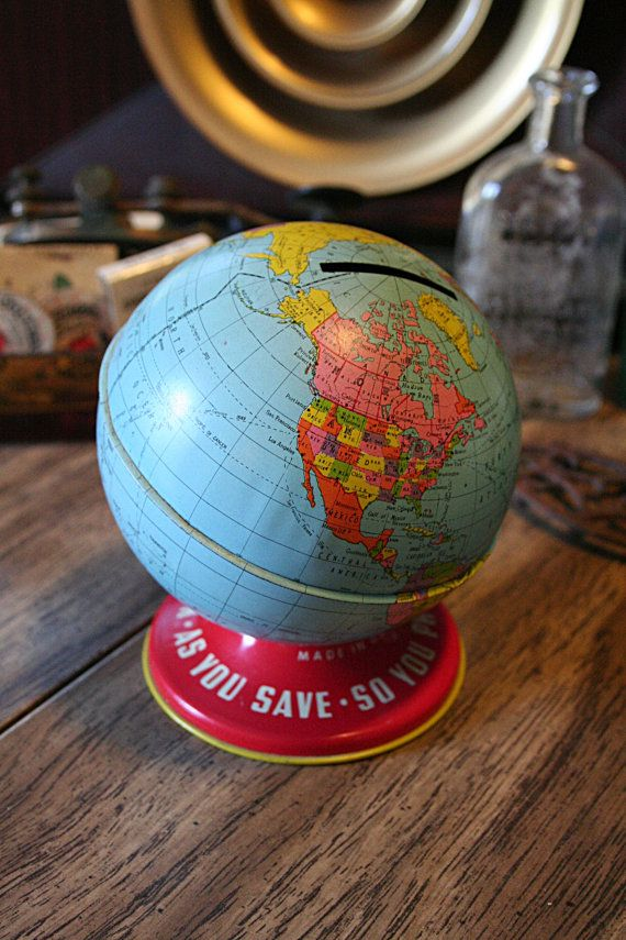 "1950s Ohio Art Co Toy Globe Bank - ""As You Save, So You Prosper"""