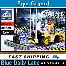 PIPE CRANE with Minifigure 62pc - Construction building block set 6212 - Fits LEGO