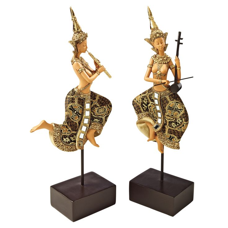 2 Piece Piphat Thai Classical Musician Statues Set
