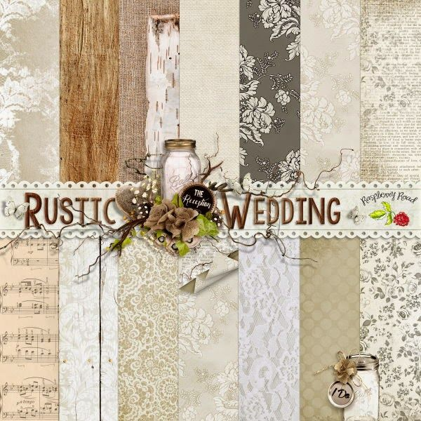 a beautiful set of 14 rustic themed papers designed to coordinate with the rustic wedding scrapbook