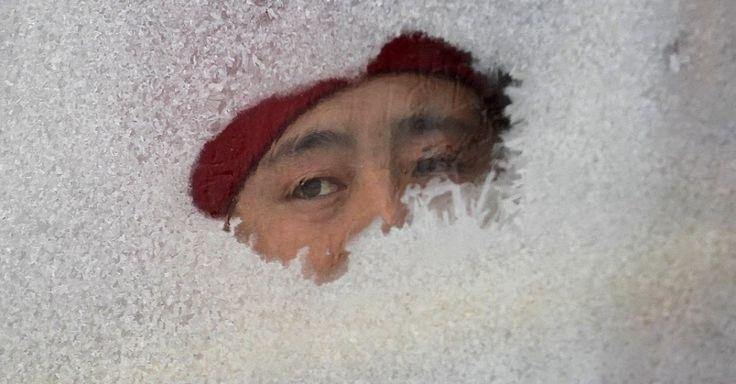 Mulher olha por uma janela de um ônibus coberta de geada em Changchun, província de Jilin, na China. As temperaturas locais chegaram a -21C°.  Fotografia: Reuters.