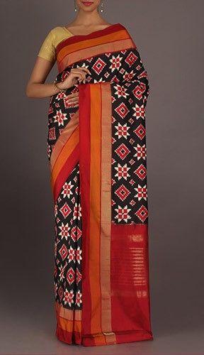 Mahalakshmi Rangoli Patterned Vibrant Ikat Pochampally Silk Saree