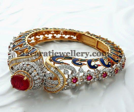 Jewellery Designs: Classic Diamond Kada Cum Bracelet