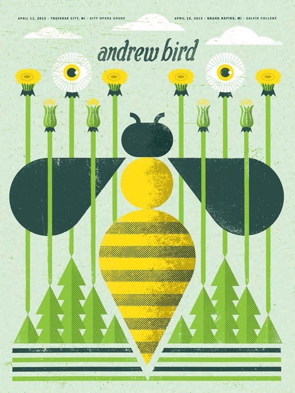 Andrew Bird's Michigan concert poster, designed by Doe Eyed.