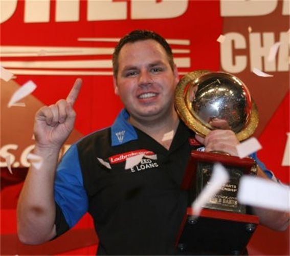 """The two-time PDC world champion, """"Jackpot"""" Adrian Lewis."""