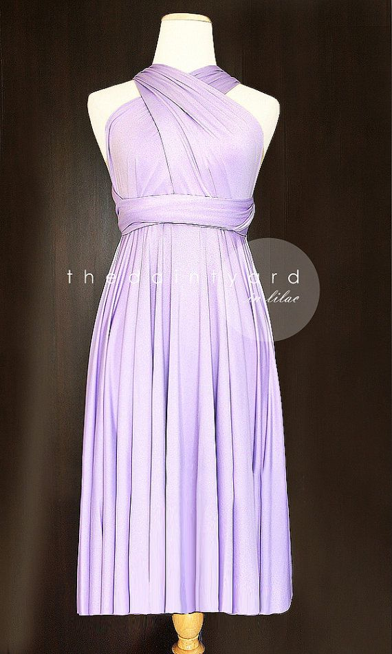 Short Straight Hem Lilac Bridesmaid Convertible Infinity Multiway Wrap Dress Wedding Dress Maid of Honor Dress