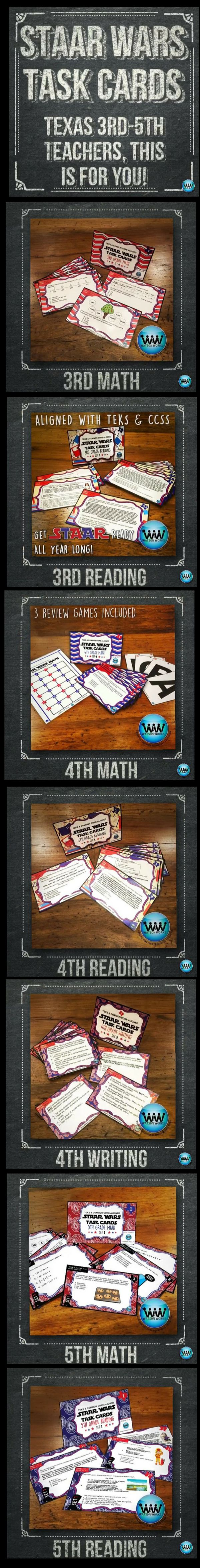 TEXAS 3RD-5TH TEACHERS!!  This is for YOU!!  Want to prep for the STAAR test this year in such a fun, engaging way that your students won't even realize they're doing test prep?  If so, our STAAR Wars Task Cards are just what you need!  Available for 3rd-5th grades (math, reading, writing*).  #texasteachers #staar #iteachthird #iteachfourth #iteachfifth #readingteachers #mathteacher #writingteacher