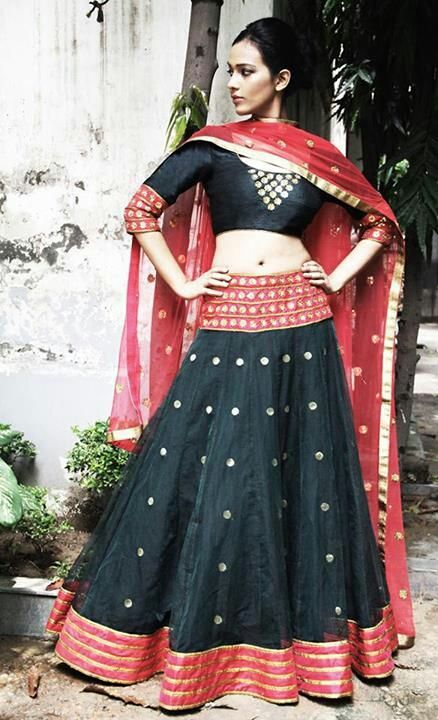 Beautiful simple mirror work lehenga choli - definitely garba colors - Black and Red and that it has a more modern feel.  Definitely future outfit for me.