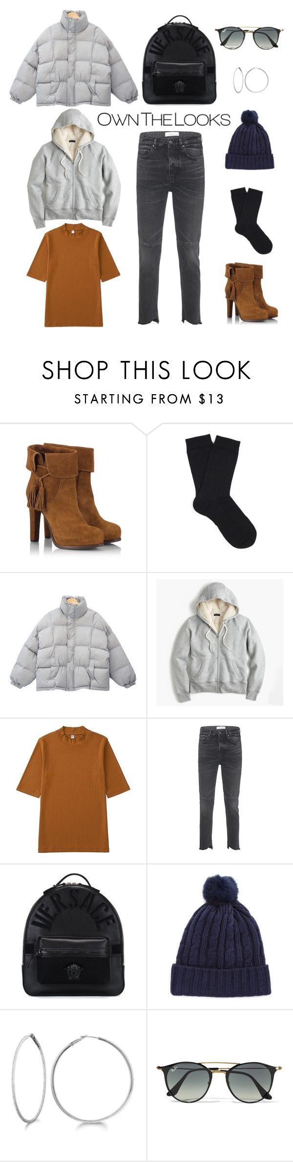 """""""Opening Trends for Winter"""" by fikinajhn ❤ liked on Polyvore featuring Fratelli Karida, Falke, J.Crew, Uniqlo, Golden Goose, Versace, Marcus Adler, Allurez and Ray-Ban"""