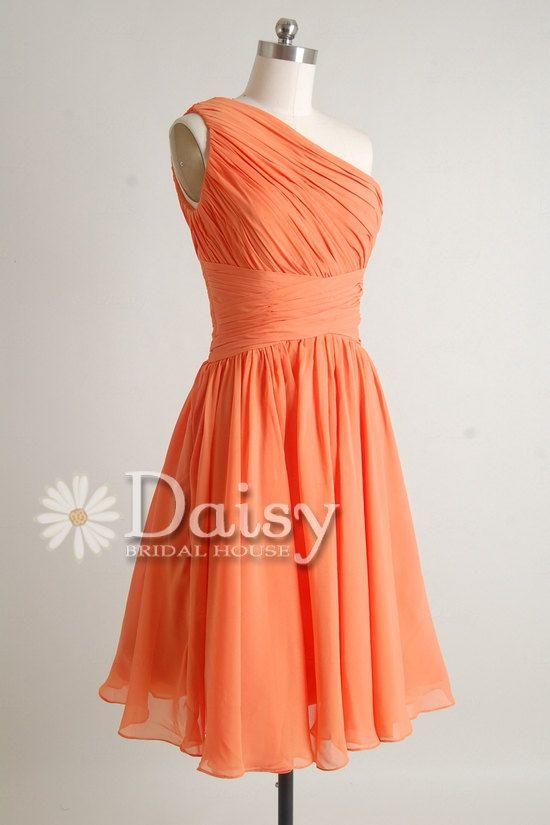 Orange Chiffon One Shoulder Bridesmaid Dress