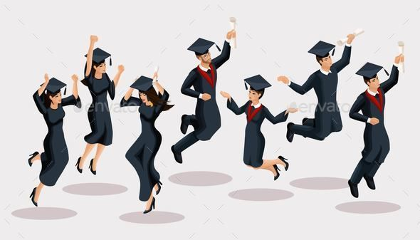 Isometrics Graduates Girls And Boys Jump Academic Robes Hats Rejoice Diplomas Graduates Academic Robes Graduation Happy Hat