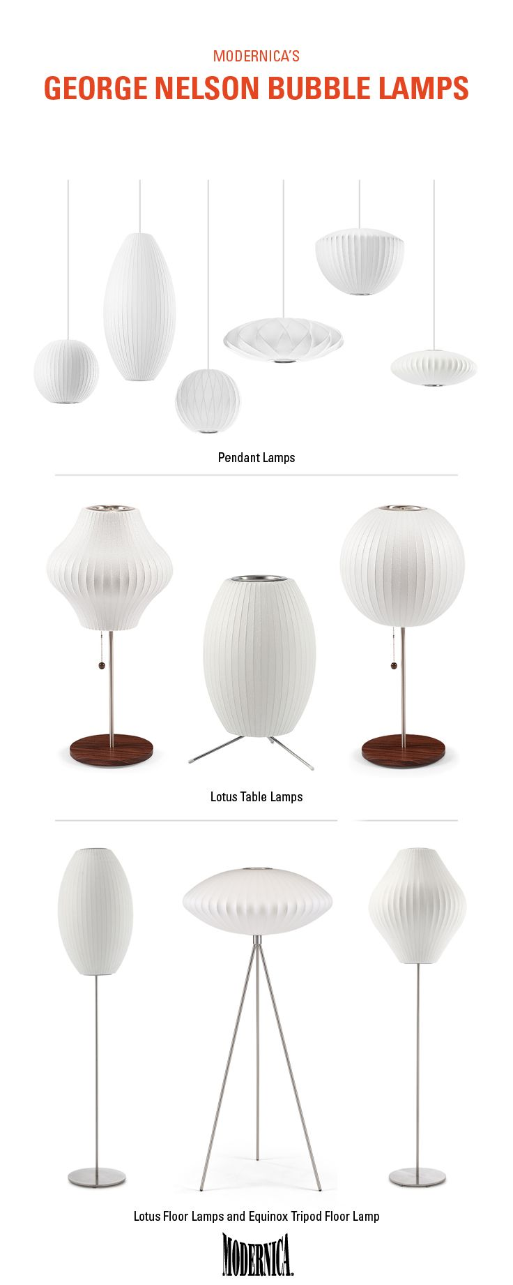 The George Nelson Bubble Lamp Collection | Pendants, table lamps, and floor lamps available in different shapes and sizes to fit your space.