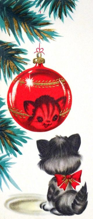 Vintage Christmas card with kitten.