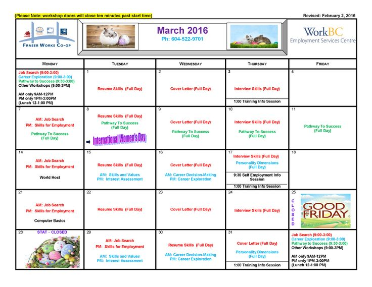 Our March client workshops calendar is all ready to go! Sign up today!
